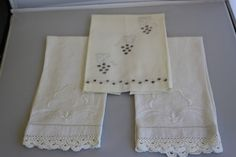 Beautiful Set of 3 Embroidered Vintage Hand by TwoCatsVintage, $20.00