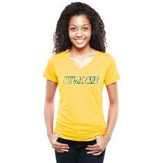 Delaware Fightin' Blue Hens Women's Classic Wordmark Tri-Blend V-Neck T-Shirt - Yellow - $29.99
