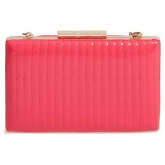 Women's Sondra Roberts Quilted Faux Leather Box Clutch (895 ARS) ❤ liked on Polyvore featuring bags, handbags, clutches, fuchsia, pink clutches, pink crossbody purse, crossbody purses, quilted crossbody and box clutch