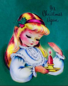 VINTAGE 1955 CHRISTMAS CARD ~ PRETTY BLONDE GIRL & CANDLE Green Background   eBay