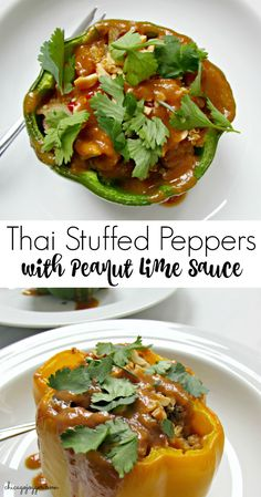 Thai Stuffed Peppers with Peanut Lime Sauce - a delicious and healthy vegetarian recipe with quinoa that's perfect for Meatless Monday   chicagojogger.com