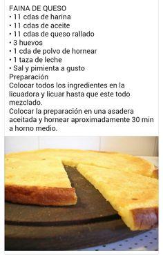 Cheese Faina Súper fácil y rápido. Cheese Recipes, Bread Recipes, Cooking Recipes, Healthy Recipes, Latin American Food, Empanadas, Daily Meals, Sin Gluten, Kitchen Recipes
