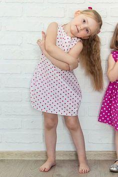 Bawełniana sukienka bombka, kropki, spinki w CASUAL NATURAL CLOTHES na DaWanda.com
