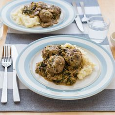 Beef and Venison Meatball Stroganoff with Mashed Potatoes