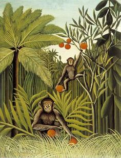 Henri Rousseau Two Monkeys in the Jungle oil painting for sale; Select your favorite Henri Rousseau Two Monkeys in the Jungle painting on canvas or frame at discount price. Henri Rousseau Paintings, Illustration Arte, Art Français, Jungle Art, Jungle Theme, Monkey Art, Wildlife Paintings, Oil Paintings, Post Impressionism
