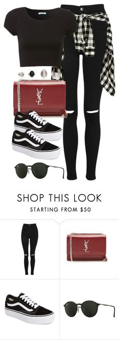 """Sin título #12864"" by vany-alvarado ❤ liked on Polyvore featuring Topshop, Yves Saint Laurent, Vans and Ray-Ban"