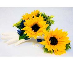 Sunflower corsage and boutonniere