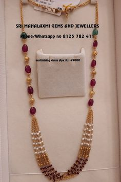 Check Out The Complete Pearl Chain Designs Here! Gold Chain Design, Gold Jewellery Design, Bead Jewellery, Pearl Jewelry, Pendant Jewelry, Beaded Jewelry, Fancy Jewellery, Gold Pendant, Diamond Jewelry