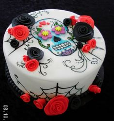 Painted Sugar Skull cake - Have been wanting to try painting on fondant for a while. This is for my daughter who loves Sugar Skulls.Roses are sugarpaste. Birthday Cake Pinterest, Pinterest Cake, Birthday Cakes For Teens, 21st Birthday Cakes, Birthday Bar, Sugar Skull Cakes, Sugar Skulls, Cake Cookies, Cupcake Cakes