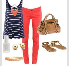 Navy & Coral Outfit!❤