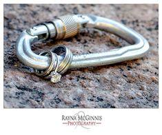 Wedding Rings on Locking Carabiner. Great idea!   © www.raynamcginnisphotography.com - Colorado Wedding and Engagement Photographer