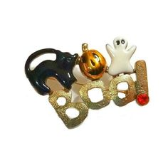 vintage halloween boo brooch rhinestone enamel gold pin black cat pumpkin ghost jewelry 70s 80s