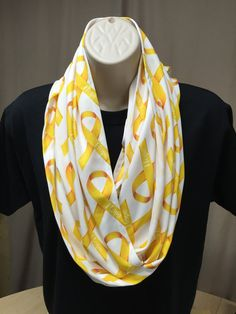 Juvenile Cancer Gold Hope Ribbon Infinity Scarf by NanasSweeties51 on Etsy