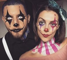 Clown-Make-up Clown-Kostüm Clownpaar. Spezialeffekte Make-up Clown Makeup Clown Costume Clown Couple. Special effects make-up …. up Maquillage Halloween Clown, Halloween Makeup Clown, Scary Clown Makeup, Halloween Inspo, Scary Clowns, Halloween Looks, Costume Clown, Scary Halloween, Costume Ideas