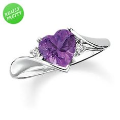 I've tagged a product on Zales: Heart-Shaped Amethyst Ring in 10K White Gold with Diamond Accents