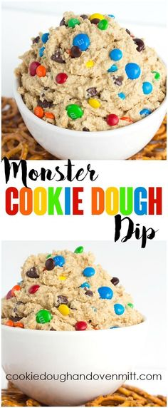 Monster Cookie Dough Dip - dip inspired by the monster cookie. Monster Cookie Dough Dip - dip inspired by the monster cookie and perfect with pretzels. Its loaded with peanut butter oatmeal candies and chocolate chips and whipped until light and airy. Dessert Dips, Dessert Parfait, Dessert Recipes, Monster Cookie Dough, Cookie Dough Dip, Monster Party, Easy Desserts, Delicious Desserts, Gastronomia
