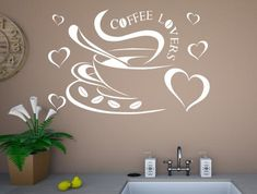 Coffee lovers kitchen wall stickers Kitchen Wall Stickers, Vinyl Wall Art, Coffee Lovers, Love Heart, Coffee Cups, Colours, Home Decor, Coffee Mugs, Heart Of Love