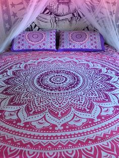 Roundie mandala bed sheet and matching pillowcases, mandala throw, bohemian wall tapestry, boho sheet, bohemian decor, hippie bedsheet by TheFoxAndTheMermaid on Etsy https://www.etsy.com/listing/251529600/roundie-mandala-bed-sheet-and-matching