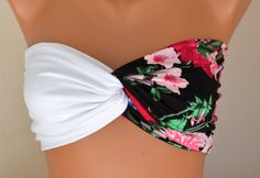Floral spandex spandex twisted swimsuit bandeau strapless bra bikini top $25.00