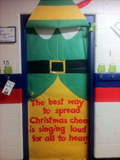 The best way to spread christmas cheer is decorating your door like Buddy the Elf! The best way to spread christmas cheer is decorating your door like Buddy the Elf! School Door Decorations, Office Christmas Decorations, Christmas Decorations For Classroom, Elf Decorations, Christmas Door Decorating Contest, Christmas Bulletin Boards, Owl Bulletin Boards, December Bulletin Boards, Teacher Doors