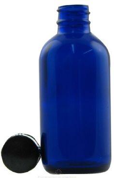 Cobalt Blue Boston Round Bottle with Cap - 4 oz, 6 ct,(Frontier)