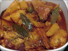 Comida Criolla Puertorriquena (Fricase de Pollo)