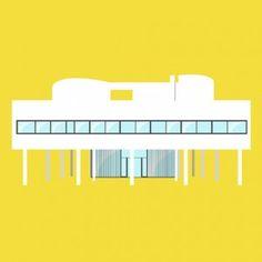 Iconic Houses animation by Matteo Muci - Villa Savoye by Le Corbusier Frank Lloyd Wright, Philip Johnson, Le Corbusier Architecture, Casa Farnsworth, Modern Architecture Design, Modern Design, Design Research, Animation, Design Graphique