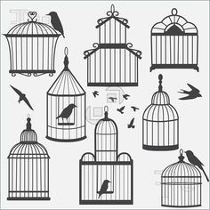 Bird cages silhouette, vector illustration