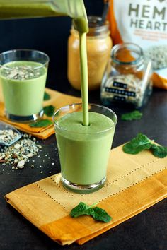 The Best Green Smoothie. A light and creamy green smoothie with a peanut butter and banana base. This green smoothie is super mild making it perfect for beginners! Best Green Smoothie, Green Smoothie Recipes, Juice Smoothie, Smoothie Drinks, Fruit Smoothies, Healthy Smoothies, Healthy Drinks, Healthy Recipes, Smoothie Cleanse