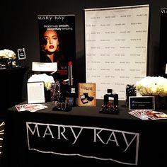 """Mary Kay table!  Vicki Reeves: Your Independent Mary Kay Consultant Facebook.com/ReevesBelievesMK """"Reeves Believes 'One Woman Can!'"""""""