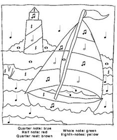 and print this Color By Numbers Sail Boat. Get your free Color By Numbers pages at All Kids Network Music Worksheets, Worksheets For Kids, Color By Numbers, Music Activities, Transportation Activities, Music Games, Primary Music, Piano Teaching, Music For Kids