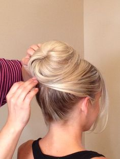 https://www.chicagostylelust.com high bun with crossed front pieces on the side. Wedding updo. Bridal hair. Wedding styles. Blonde up styles. Bride or Bridesmaid hair. Party or special occasion. Audrey hepburn style.: