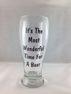 It's The Most Wonderful Time For A beer Fun Christmas Wine Glass for men, husband, coworker, stocking stuffer on Etsy, $9.00