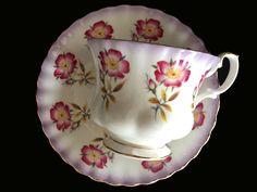 Royal Albert Teacup and Saucer, Pink Dogwood, Montrose Shaped Tea Cup 13931