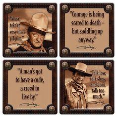 John Wayne Western Photos and His Quotes 4 Piece Coaster Set, NEW SEALED