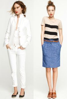 adore the casual-cute style on the left. not so much the white on the right..