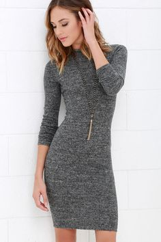 2017 Autumn Winter Women Tight Pack hip Dress Gray Fashion Long Sleeve Dresses Round Turtleneck Bodycon Sexy Knee Length Vestido We offers a wide selection of trendy style women's clothing. Affordable prices on new tops, dresses, outerwear and more. Grey Bodycon Dresses, Bodycon Dress With Sleeves, Casual Dresses, Pencil Dresses, Sheath Dress, Women's Dresses, Party Dresses, Long Dresses, Fashion Dresses