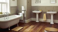 neutrals and timber floor in the bathroom / a very clean look