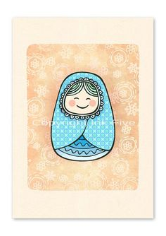 Matrioshka nursery art print  Wall decor by InkFivePrints on Etsy, $16.00