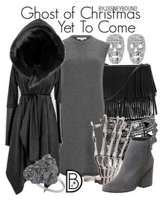 """""""Ghost of Christmas Yet To Come"""" by leslieakay ❤ liked on Polyvore featuring Tresor Paris, Bling Jewelry, White House Black Market, Alexander Wang, Office, Wallis, Christmas, disney, disneybound and disneycharacter"""