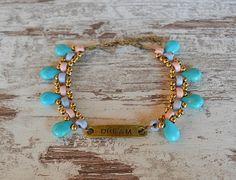 dream ankle bracelet motivational bracelet turquoise anklet Ankle Bracelets, Beaded Bracelets, Beach Anklets, Bare Foot Sandals, Ceramic Beads, Beautiful Gift Boxes, Beautiful Islands, Turquoise Bracelet, Bronze