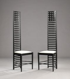"""Charles Rennie Macintosh, model """"Hill House"""". The chairs was designed in 1904 for the Willow Tea Rooms in Glasgow, Scotland"""