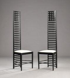 stuhl art nouveau stil hochlehner textil von charles rennie mackintosh 292 hill house 1. Black Bedroom Furniture Sets. Home Design Ideas