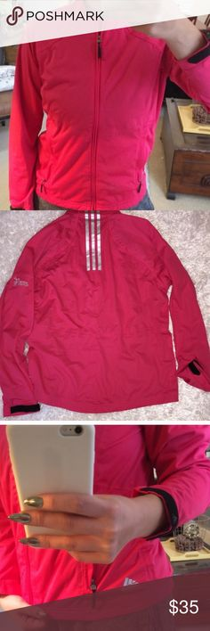 Adidas Windbreaker Bright pink colored Adidas zip up in excellent condition! Size is a women's M, and fits accordingly. Feel free to  ask any questions! adidas Jackets & Coats