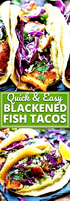 Easy Blackened Fish Tacos are paired with a cabbage slaw and a refreshing avocado, cilantro and lime sauce for an epic taco combo! These healthy fish tacos are a great gluten-free dinner or lunch rec Healthy Fish Tacos, Easy Fish Tacos, Healthy Meals For Two, Good Healthy Recipes, Easy Meals, Health Recipes, Fish Recipes, Lunch Recipes, Healthy Dinner Recipes