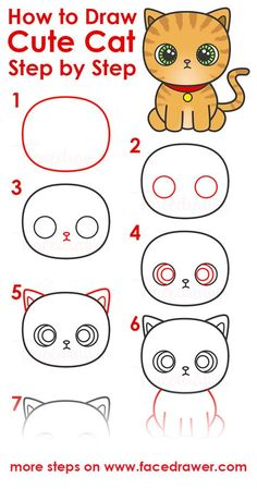 Cats drawing tutorial doodles 18 Ideas for 2019 Cat Drawing Tutorial, Drawing Tutorials For Kids, Easy Drawings For Kids, Drawing For Beginners, Sketching For Kids, Drawing Ideas Kids, Drawing Lessons For Kids, Art Lessons, Cat Drawing For Kid