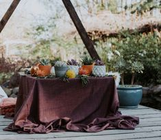 Natural texture gathered Plum Linnea Deep Purple Table Cloth styled by Jalie Events