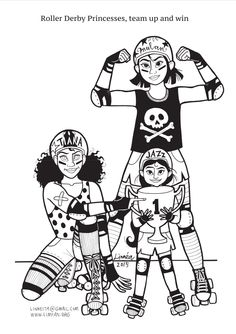 Roller Derby Princesses coloring page