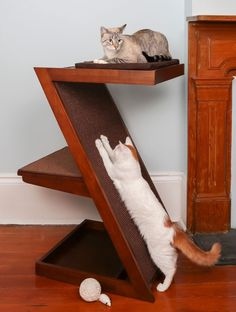 Shop for The Refined Feline A-Frame Cherry Brown Finish Wood Cat Bed with Scratcher End Table. Get free delivery On EVERYTHING* Overstock - Your Online Cat Supplies Store! Get in rewards with Club O! Wood Cat, Cat Towers, Cat Shelves, Cat Scratching Post, Cat Tunnel, Cat Enclosure, Cat Scratcher, Pet Furniture, Wooden Furniture