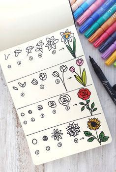 Artistro Premium Art Supplies - Paint Marker Pens & Art Materials Learn to draw flowers for beginner Doodle Art For Beginners, Easy Doodle Art, Doodle Doodle, Doodle Drawings, Bullet Journal Writing, Bullet Journal Aesthetic, Daily Journal, Nature Journal, Stylo Art